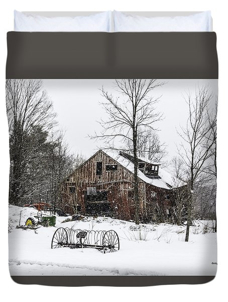 Duvet Cover featuring the photograph Snowy Barn Leaning Towards Sawyer by Betty Denise