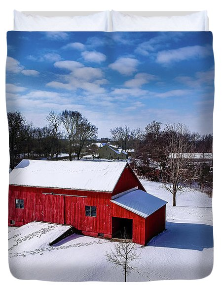 Snowy Barn Duvet Cover