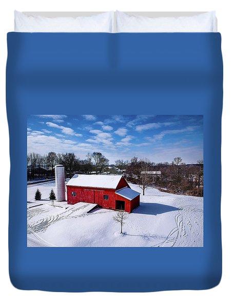 Snowy Barn Duvet Cover