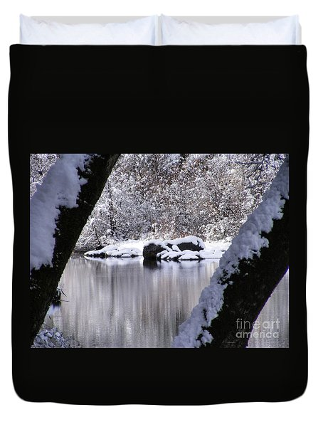 Snowy Bear River Duvet Cover