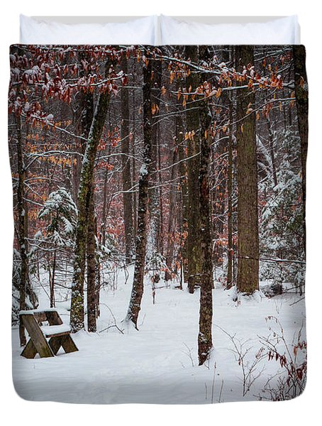 Snowy Bench Duvet Cover