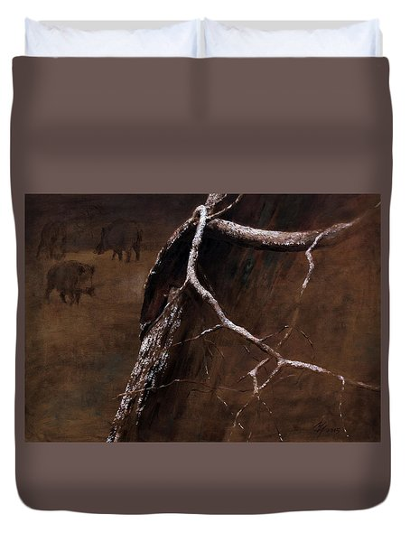 Snowy Branch With Wild Boars Duvet Cover