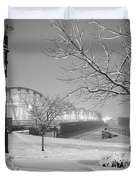 Snowy Bridge With Trees Duvet Cover