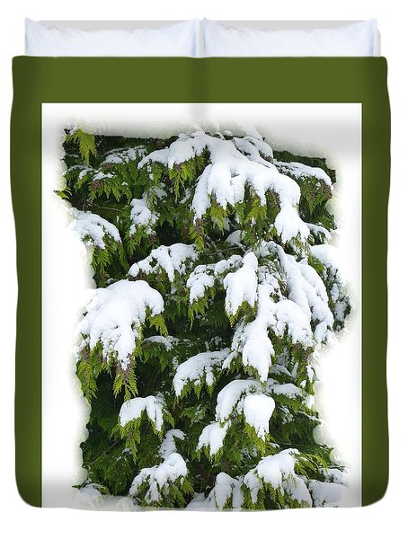 Duvet Cover featuring the photograph Snowy Cedar Boughs by Will Borden