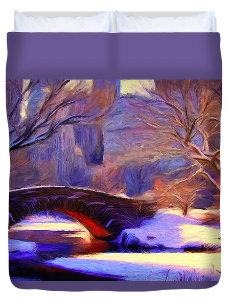 Snowy Central Park Duvet Cover