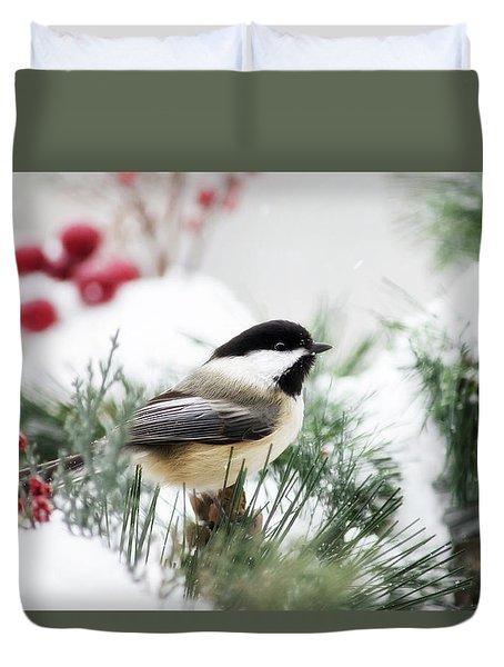 Snowy Chickadee Bird Duvet Cover by Christina Rollo