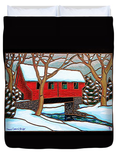 Snowy Covered Bridge Duvet Cover
