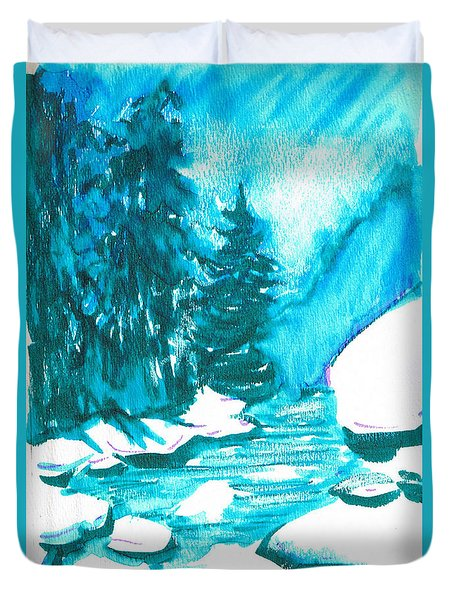 Duvet Cover featuring the mixed media Snowy Creek Banks by Seth Weaver