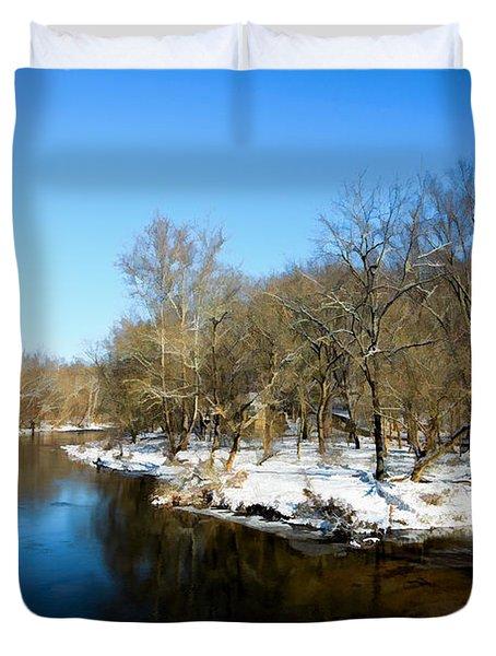 Snowy Creek Morning Duvet Cover