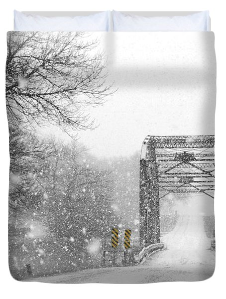 Snowy Day And One Lane Bridge Duvet Cover by Kathy M Krause