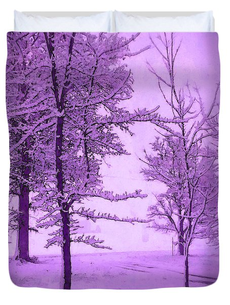 Duvet Cover featuring the photograph Snowy Day In Purple by Michelle Audas