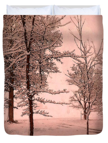 Duvet Cover featuring the photograph Snowy Day In Rose by Michelle Audas