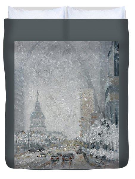 Snowy Day - Market Street Saint Louis Duvet Cover