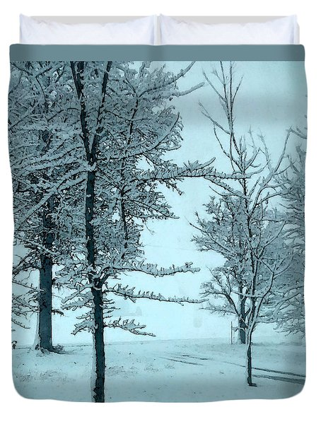 Duvet Cover featuring the photograph Snowy Day by Michelle Audas