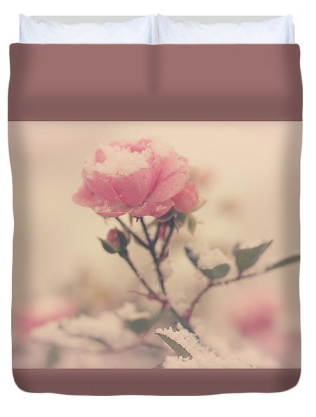 Snowy Day Of Roses Duvet Cover by The Art Of Marilyn Ridoutt-Greene