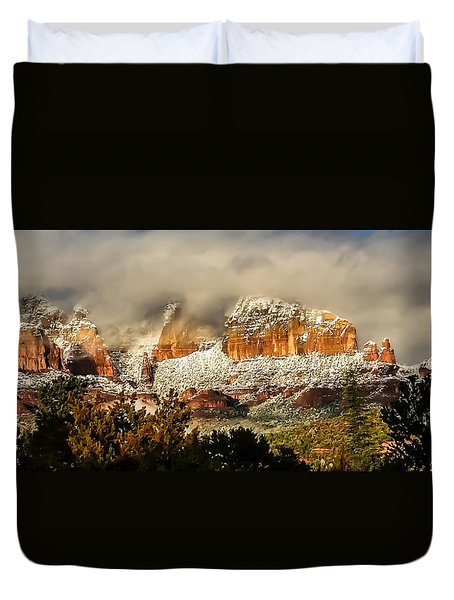 Snowy Day In Sedona Duvet Cover