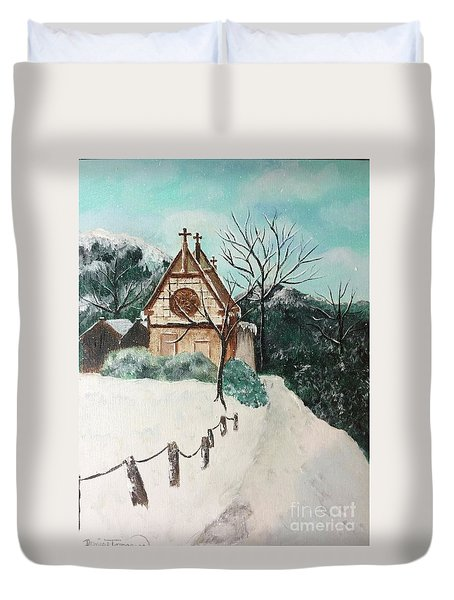 Duvet Cover featuring the painting Snowy Daze by Denise Tomasura