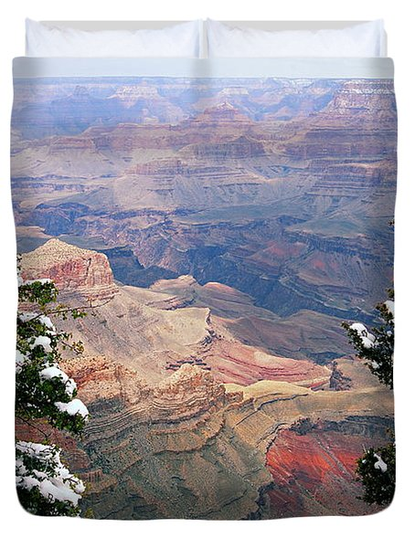 Snowy Dropoff - Grand Canyon Duvet Cover