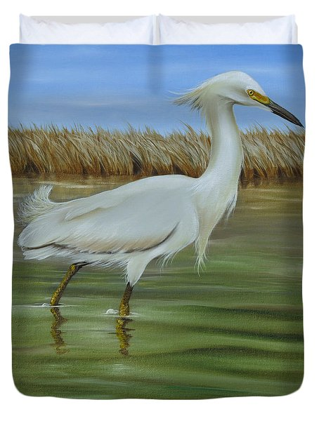 Duvet Cover featuring the painting Snowy Egret 1 by Phyllis Beiser