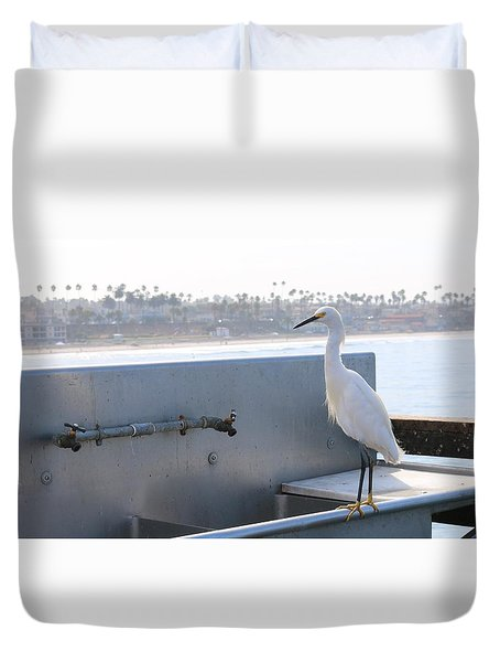 Duvet Cover featuring the photograph Snowy Egret - 2 by Christy Pooschke