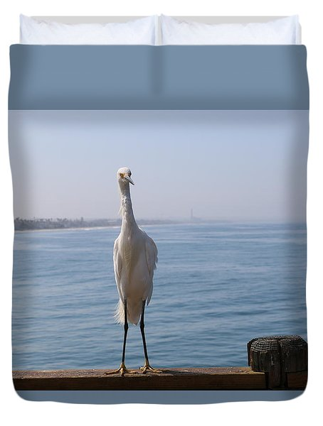 Duvet Cover featuring the photograph Snowy Egret - 3 by Christy Pooschke
