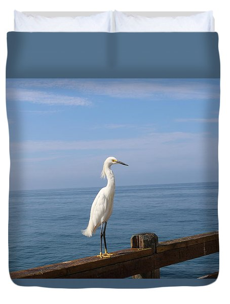 Duvet Cover featuring the photograph Snowy Egret - 4  by Christy Pooschke