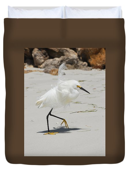 Snowy Egret 6429 Windy Duvet Cover
