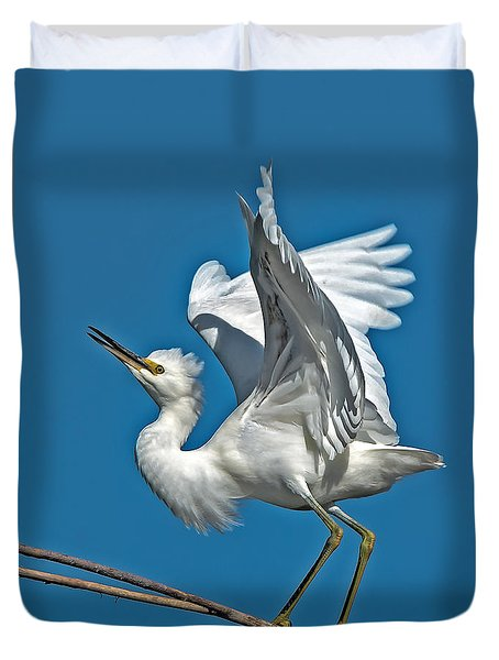 Snowy Egret Balancing Act Duvet Cover