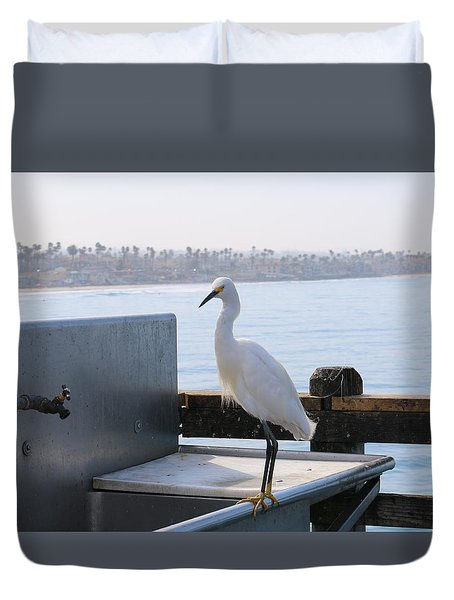 Duvet Cover featuring the photograph Snowy Egret  by Christy Pooschke