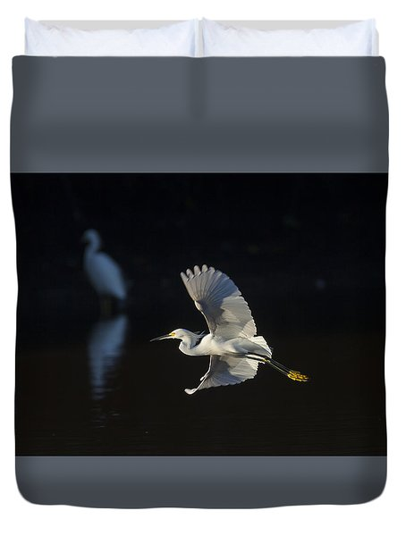 Snowy Egret In Flight In The Morning Light Duvet Cover