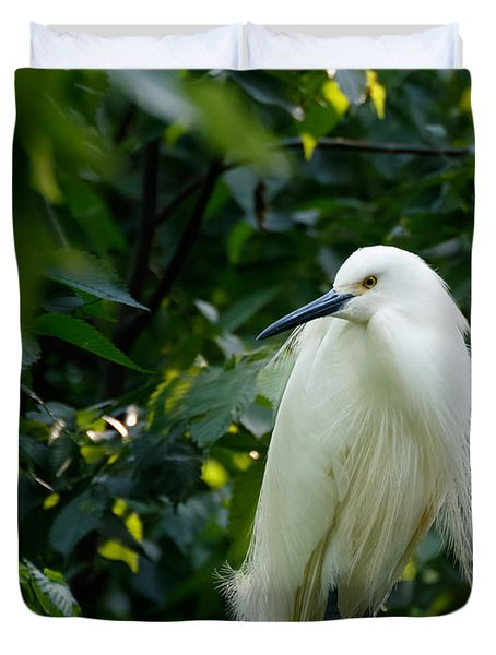 Snowy Egret In The Trees Duvet Cover