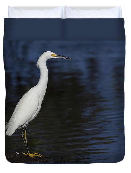 Snowy Egret Perched On A Rock Duvet Cover