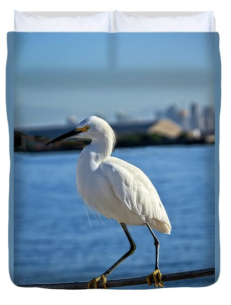 Duvet Cover featuring the photograph Snowy Egret Portrait by Robert Bales