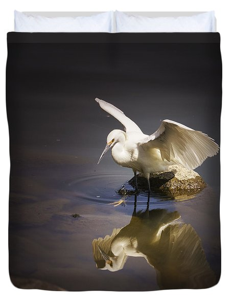 Snowy Egret Reflection Duvet Cover