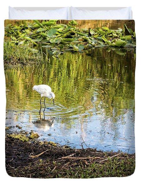 Snowy Egret Reflections Duvet Cover