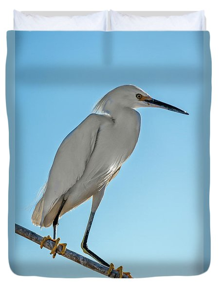 Duvet Cover featuring the photograph Snowy Egret by Robert Bales
