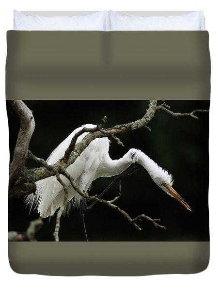 Snowy Egret Setauket New York Duvet Cover