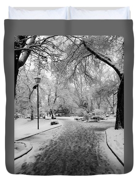 Snowy Entrance To The Park Duvet Cover by Rae Tucker