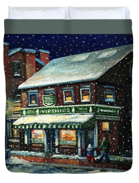 Snowy Evening In Gloucester, Ma Duvet Cover