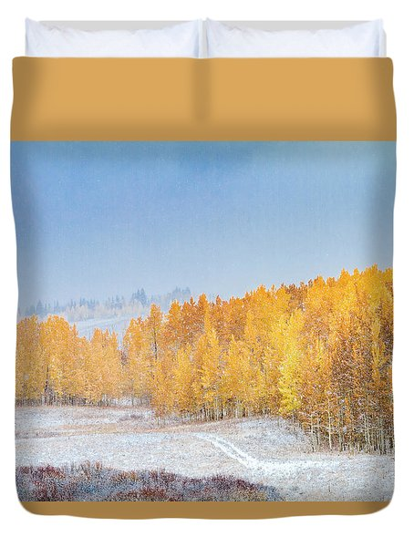 Snowy Fall Morning In Colorado Mountains Duvet Cover