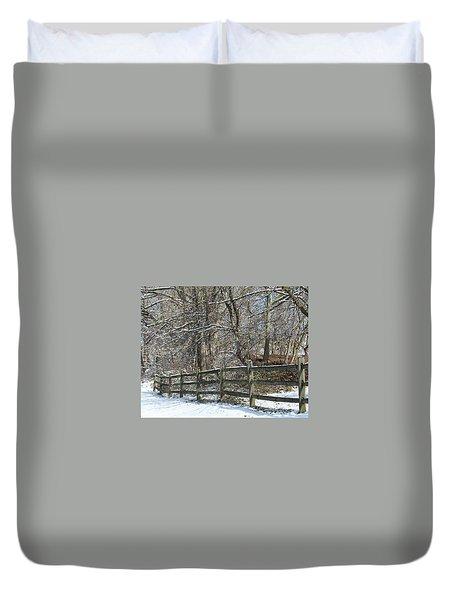 Winter Fence Duvet Cover