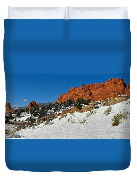 Duvet Cover featuring the photograph Snowy Fields At Garden Of The Gods by Adam Jewell