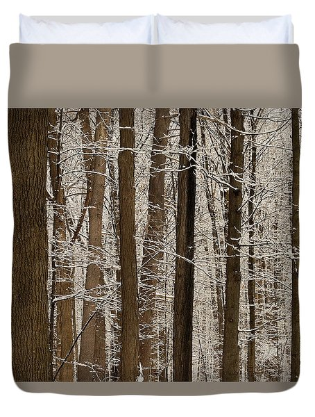 Snowy Forest Elevation Duvet Cover