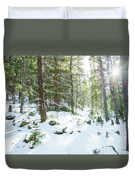 Duvet Cover featuring the photograph Snowy Forest Wilderness Playground by James BO Insogna