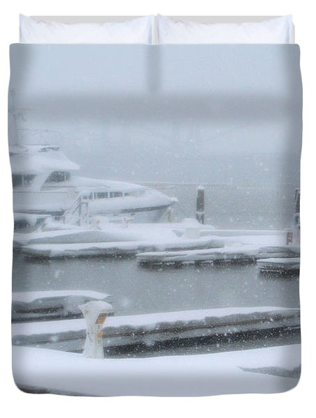 Snowy Harbor Duvet Cover