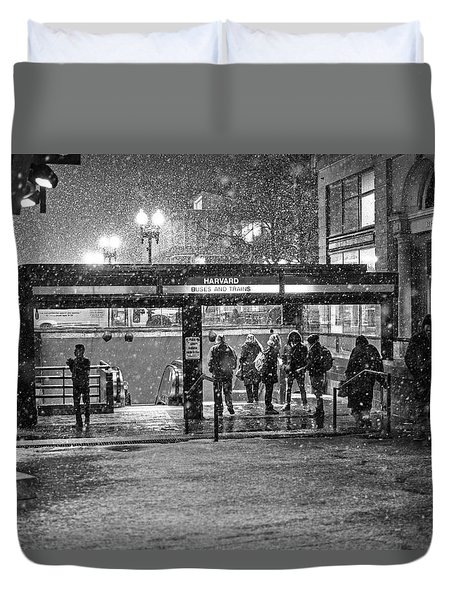 Snowy Harvard Square Night- Harvard T Station Black And White Duvet Cover