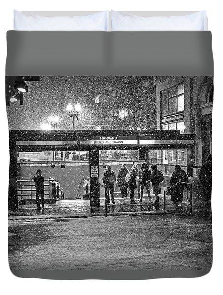 Snowy Harvard Square Night- Harvard T Station Black And White Duvet Cover