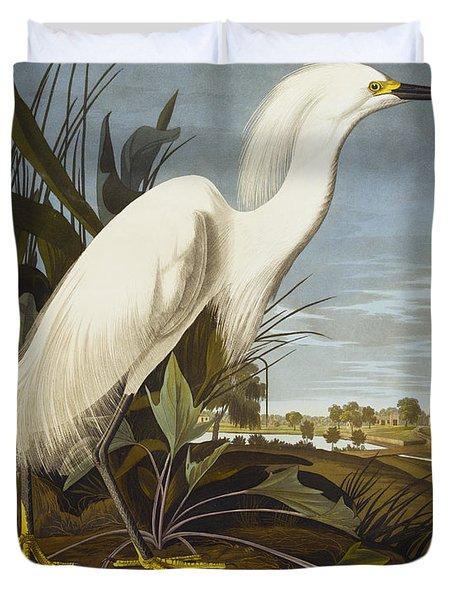 Snowy Heron Duvet Cover by John James Audubon