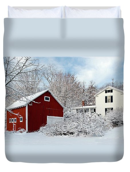 Snowy Homestead With Red Barn Duvet Cover