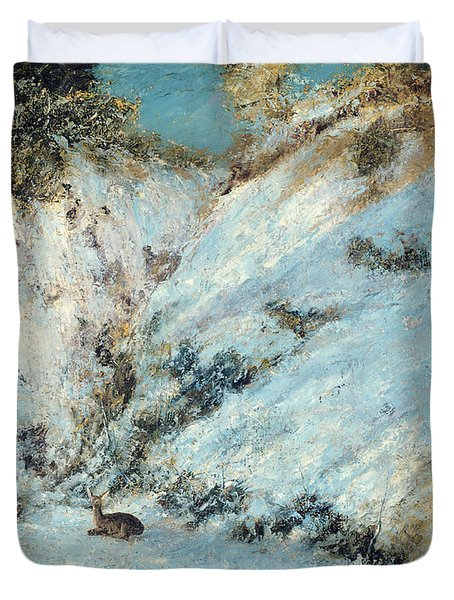 Snowy Landscape Duvet Cover by Gustave Courbet